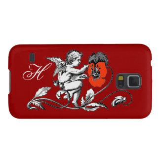 ÁNGEL QUE PINTA una FLOR ROJA, MONOGRAMA, rojo Carcasa De Galaxy S5