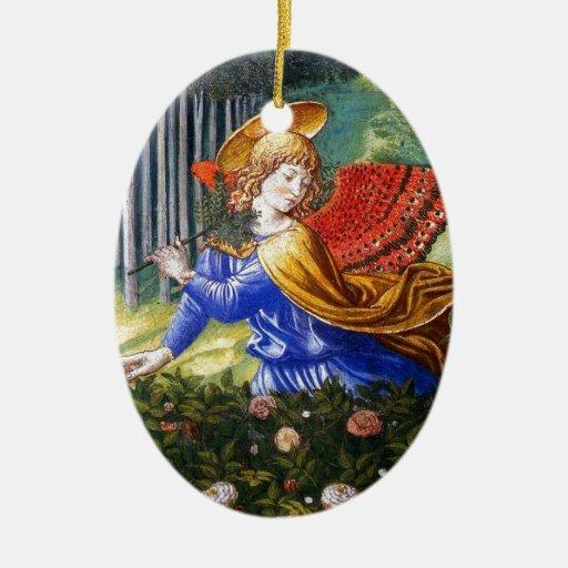 Ángel que recolecta las flores en un paisaje divin adorno para reyes