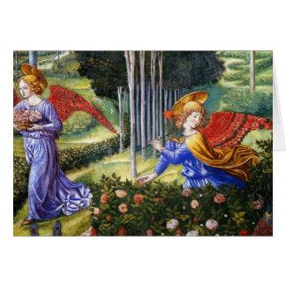 Ángel que recolecta las flores en un paisaje divin tarjeton