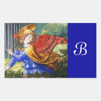 Ángel que recolecta las flores en un paisaje pegatina rectangular