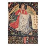 Ángel que sostiene la cubierta tarjeta de felicitación