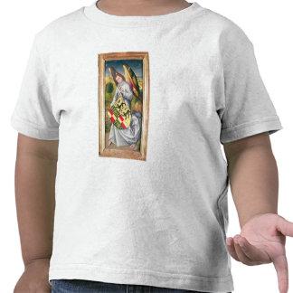 Ángel que sostiene un escudo con dos leopardos camisetas
