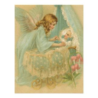 Ángel que tiende a un bebé en una cuna membrete personalizado