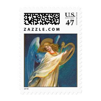 Ángel que toca la arpa sellos postales