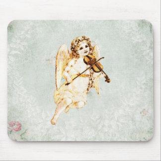 Ángel que toca un violín en fondo del papel del alfombrilla de raton