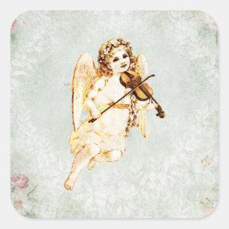 Ángel que toca un violín en fondo del vintage pegatina cuadrada
