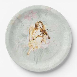 Ángel que toca un violín en una textura lamentable plato de papel de 9 pulgadas