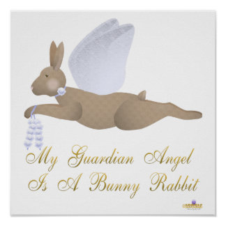 Angel Rabbit Brown Blue Roses Guardian Angel Bunny Poster