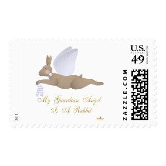 Angel Rabbit Brown Blue Roses Guardian Angel Rabbi Stamp