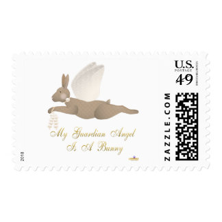 Angel Rabbit Brown Orange Roses Guardian Angel Bun Postage Stamps