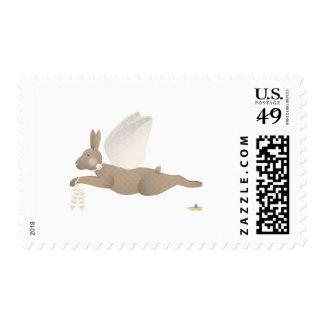 Angel Rabbit Brown Orange Roses Stamps