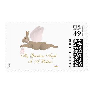 Angel Rabbit Brown Pink Roses Guardian Angel Rabbi Postage Stamps