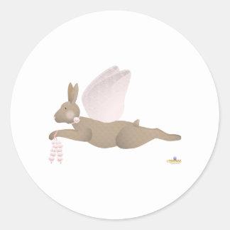 Angel Rabbit Brown Pink Roses Round Sticker
