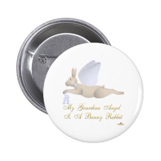 Angel Rabbit Tan Blue Roses Guardian Angel Bunny R 2 Inch Round Button
