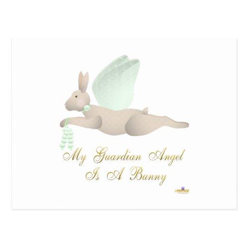 Angel Rabbit Tan Green Roses Guardian Angel Bunny Postcard