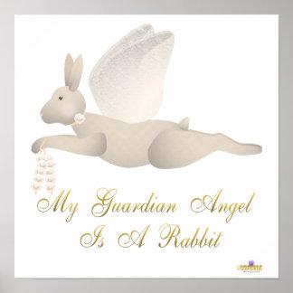 Angel Rabbit Tan Orange Roses Guardian Angel Rabbi Poster
