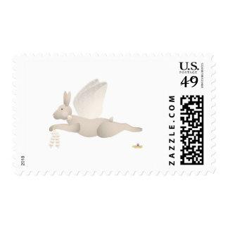 Angel Rabbit Tan Orange Roses Postage Stamp