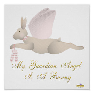 Angel Rabbit Tan Pink Roses Guardian Angel Bunny Poster