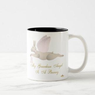 Angel Rabbit Tan Pink Roses Guardian Angel Bunny Two-Tone Coffee Mug