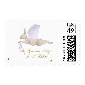 Angel Rabbit Tan Purple Roses Guardian Angel Rabbi Postage Stamp