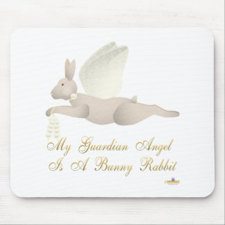 Angel Rabbit Tan Yellow Roses Guardian Angel Bunny Mouse Pad
