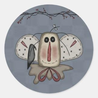 Angel Rag Doll & Crow Classic Round Sticker