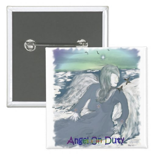 Angel Resting On A Cloud Pinback Button