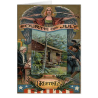 Angel Revolutionary War Cabin Soldiers Greeting Card