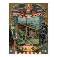 Angel Revolutionary War Cabin Soldiers Postcard