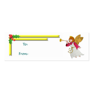 Angel, Ribbons and Holly Gift Tag Double-Sided Mini Business Cards (Pack Of 20)