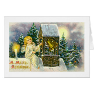 Angel ringing a bell greeting card