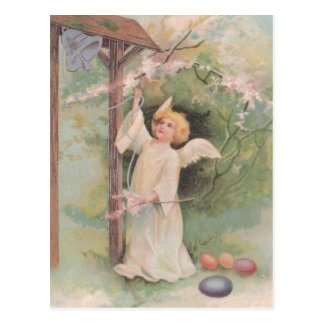 Angel Ringing Bell Easter Colored Painted Egg Postcard