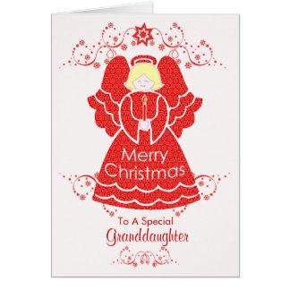 Ángel rojo del navidad para la nieta tarjeta
