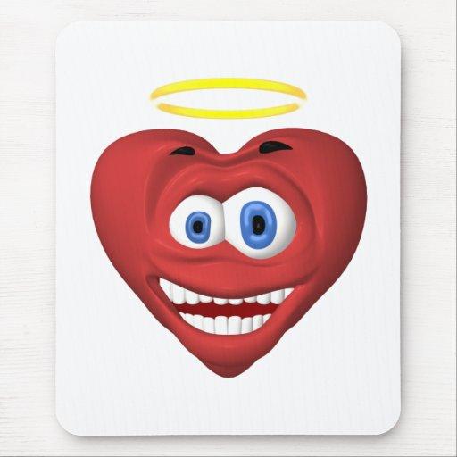 Ángel rojo sonriente del corazón alfombrilla de ratón
