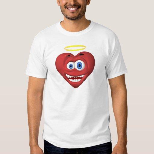 Ángel rojo sonriente del corazón poleras