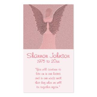 Ángel rosado conmemorativo de la tarjeta el | tarjetas de visita