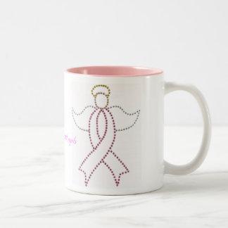 Ángel rosado de la cinta taza
