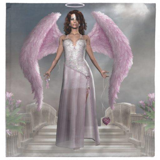 Ángel rosado de los productos de la esperanza servilletas