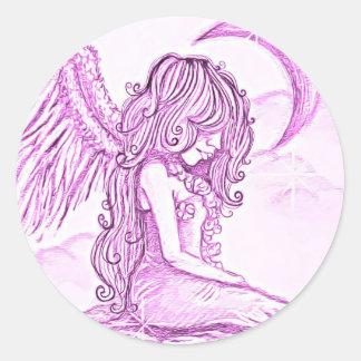 Ángel rosado del pegatina de la luna