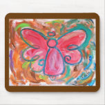 Ángel rosado en las hojas de otoño Mousepad Tapete De Ratones