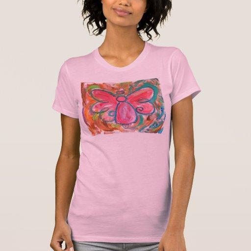 ángel rosado para las hojas de la caída camisas