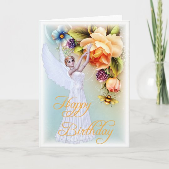 Angel roses happy birthday greeting card d1 zazzle angel roses happy birthday greeting card d1 m4hsunfo