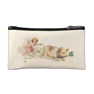 Angel Runs with Pig - Cute Victorian Vintage Purse Makeup Bags