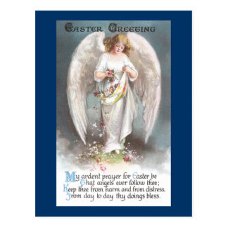 Angel Scattering Flowers Vintage Easter Postcard