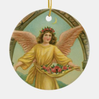 Angel Scattering Roses Ceramic Ornament