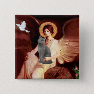 Angel Seated - Russian Blue cat Button