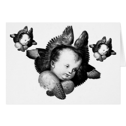 Angel Seraphim In Black And White Greeting Card