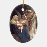 Angel Serenade Double-Sided Oval Ceramic Christmas Ornament