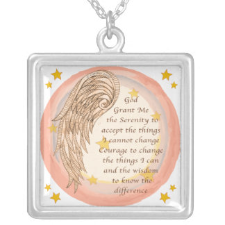 Angel Serenity Prayer Silver Plated Necklace