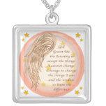 Angel Serenity Prayer Square Pendant Necklace